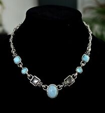 M. DAWKINS 925 SILVER MILKY AQUA CABOCHON GRAY MOP SIMULATED TURQUOISE NECKLACE