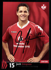 Josh Simpson Autogrammkarte 1 FC Kaiserslautern 2007-08 Original Sign + A 63304