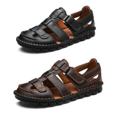 Men's Cow Leather Sandals Closed Toe Hook&Loop Beach Outdoors Breathable Summer