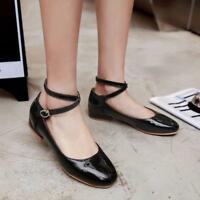 Womens Mary Jane Shoes Round Toe Patent Leather Cross Ankle Strap Dance Pumps