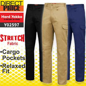 Hard Yakka Work Pants Cargo Stretch Heavy Duty Relax Fit Drill Pants Y02597 NEW