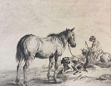 Dirk Stoop (1610-1686) Cheval dans le paysage 1651 retirage XIXe Raimond Campau