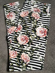 Lularoe TC Leggings Pink Roses Floral with Black and White Stripes