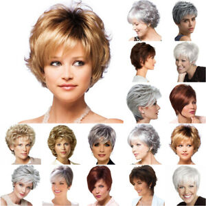 Women Real Natural Short Cut Curly Wavy Hair Wigs Lady's Cosplay Party Full Wig