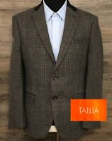 TALLIA Men's Multi-Color Plaid 100% Wool Two-Button Blazer Sport Coat Jacket 36R