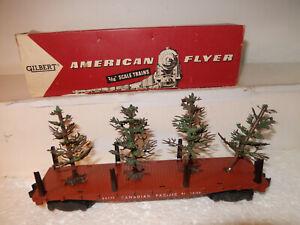 American Flyer Very Nice Rare 24558 Christmas Tree Transport Car W Green TreesOB