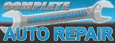 15x4 Complete Auto Repair Banner Sign Foreign Domestic Vehicle Car Shop Blue