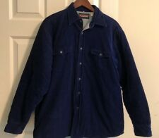 WINDBREAKER Quilted Lining Jacket Navy Men Size L Long Sleeves Buttoned