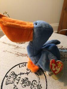 Rare Ty Scoop Beanie Baby Pelican MINT
