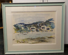 Original Alfred Birdsey Watercolor Sailboats in Harbor 30x 26 Overall