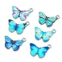 10x Metal Butterfly Pendants For Earrings Necklace Bracelet Jewelry DIY Making