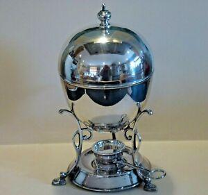 "Delightful Antique Silver Plated ""EGG CODDLER BOILER"" with heater for 4 eggs"
