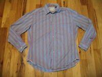 Robert Graham Pink Blue Cotton Striped Long Sleeve Button Front Shirt Mens XL