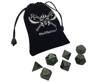 Black Dragon | Shiny Black Nickel with Green Numbers Metal Dice (7 Die in Pack)