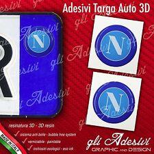 2 Adesivi Stickers bollino 3D Resinato targa Auto Moto NAPOLI calcio