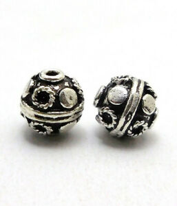 18 PCS 8MM SOLID COPPER BALI BEAD ANTIQUE STERLING SILVER PLATED 677 FUL-362