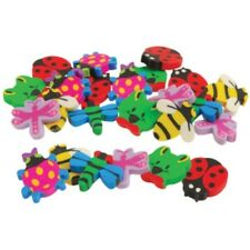 "Insect Shaped Erasers set of 6 (1 1/4"" diameter), favour loot bag, gift, prize"