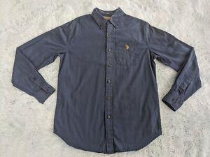 US Polo Assn Size SMALL Men's Long Sleeve Button Down Up Shirt Navy Blue