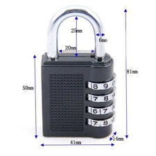 4 Combination Security Cabinet Suitcase Luggage Bag Code Padlock Lock Black