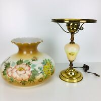 Vintage Hand Painted Gone With The Wind Hurricane Table Parlor Lamp Brass