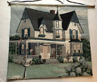 Vtg  American Country Cottage HOUSE Woven Tapestry Gobelin Wall Hanging Mint