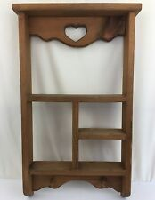 Wooden Shelf w/ Pegs and Heart Wall Hanging