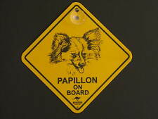 Papillon On Board Dog Breed Yellow Car Swing Sign Gift