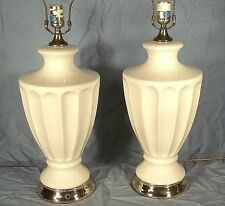 PAIR OF MID CENTURY MODERN CLASSICAL ADAMS FLUTED URN WHITE GLAZED CERAMIC LAMPS