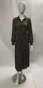 Ex F&F Black Chain Detail Midi Pleated Long Sleeve Dress BNWOT