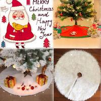 Christmas Tree- Long Snow Plush Skirt Base Floor Mat Cover XMAS Home Decor S/M/L