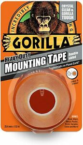 Gorilla Glue Heavy Duty Double Sided Mounting Tape Weather Proof Crystal Clear