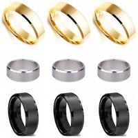 8mm Titanium Steel Ring Man/Women's Band Gold Silver Black Size 6-12