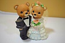 Vintage Homco Porcelain Bear Figures Bride & Groom Wedding #1407 (520)