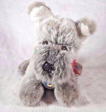 "Vintage Dakin Grey SCHNAUZER Puppy Dog Plush Korea w/Tags 10"""