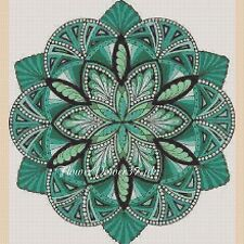 Colourful Fractal Mandala 420e  Cross stitch chart FlowerPower37-uk