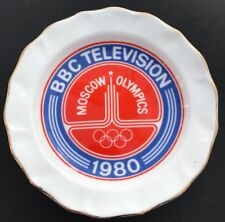 BBC TV Moscow Olympics pin dish RARE memento souvenir gift  Rodek Bone China