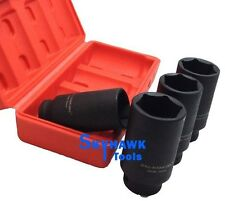 """1/2"""" 4-PC Drive 6 Point Deep Spindle Axle Nut Socket Set - Metric 30 32 34 36 MM"""