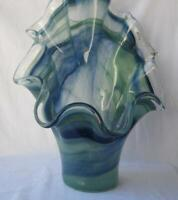 Genuine Italian Art Deco Glass Fan Vase Dark Blue Tammaro Italy Murano No 243