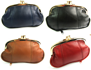 Ladies Girls Super Soft Genuine Leather Twin Clip Top Coin Pouch Purse Wallet