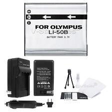 LI-50B Battery+Charger+BONUS for Olympus Stylus, MJU, S, Tough, VR, X Cameras