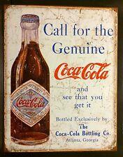 Call For The Genuine Coca Cola TIN SIGN metal Bottle Decor Coke Vtg
