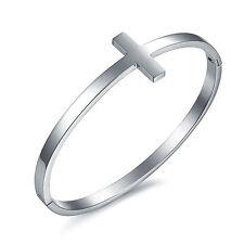 Edelstahl Silber Damen Armband Armreif Armkette Kreuz Schmuck Geschenk - H644