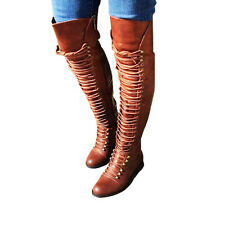 Womens Long Boots Thigh High Over Knee Stiletto Heel Lace Up Shoes Plus Size