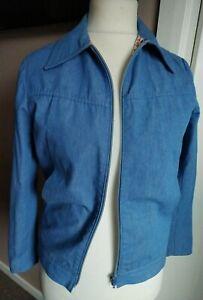 """Men's Vintage St Michael Denim Bomber Jacket Blue Harrington Size Fit 36"""" Chest"""