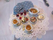 KIVA IGMA  DOLLHOUSE MINIATURES -FOOD ON PLATES , SOUP AND CRACKERS, SOUP TU