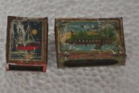 2 Pc Vintage Mirror Fitted Litho Unique Match Box Covers , Collectible
