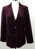 "St. Michael UK 42  US 14 Wine Velvet Blazer Jacket Holidays 36"" Bust FITS M"