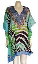 DESIGNER Short Kaftan Dress Viscose Silk Crepe Crystals Luxe FREE SIZE 6-22