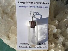 Large Clear Natural Rough 6 Sided Quartz Point+ AMETHYST Silver Pendant-A Beauty