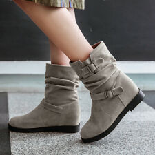 Slouch Ankle Boots For Women Suede Flats Hidden Wedge Winter Booties US 6 Gray